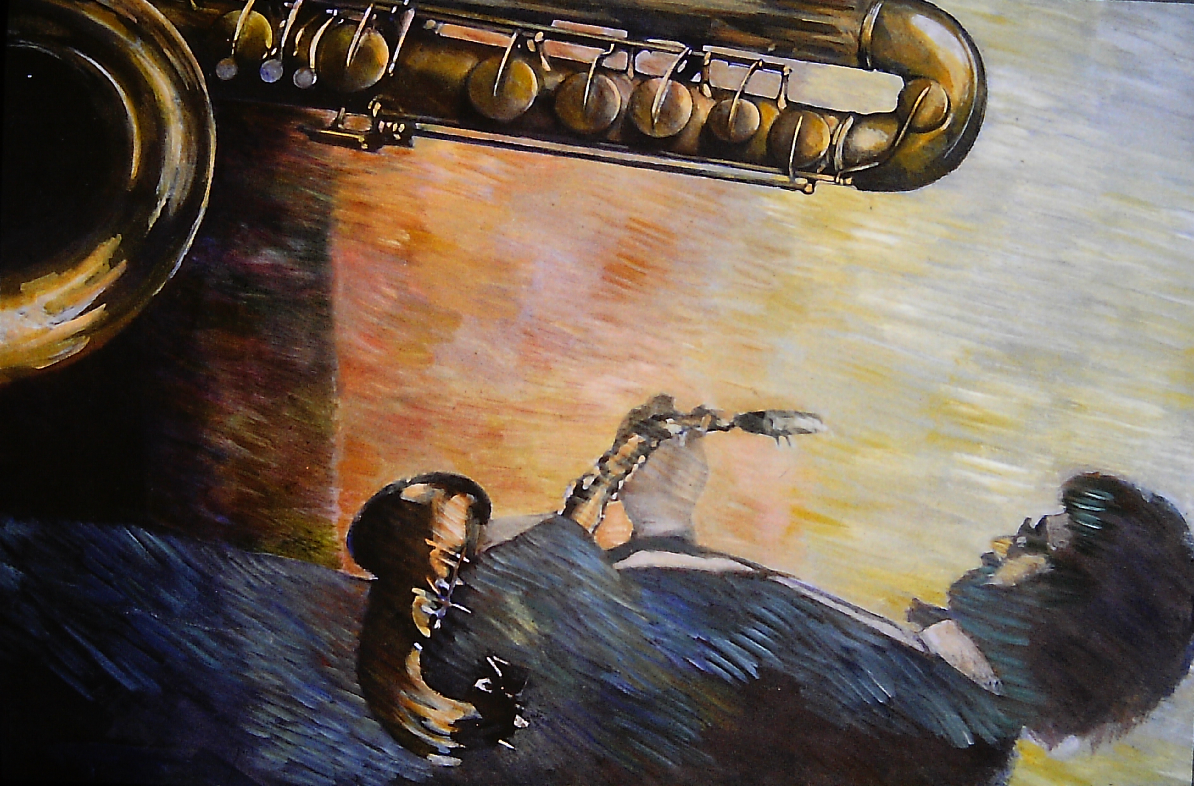 self portrait with bass saxophone