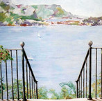 Breakfast room mural.A favourite view from the South of France. Hadley Wood, Herts