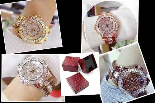 Relógio De Luxo Feminino Strass Bee Sister Bs0629