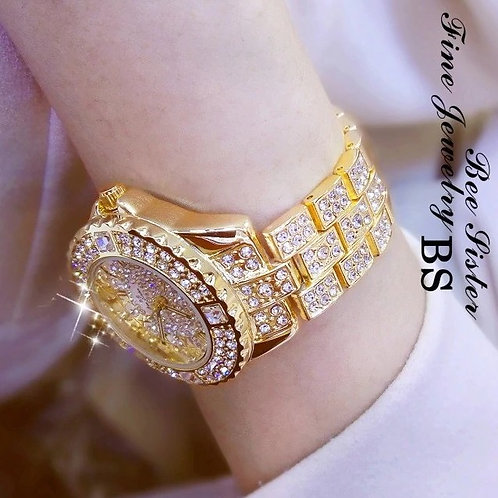Relógio De Luxo Feminino Strass Bs Bee Sister Mod. 08040