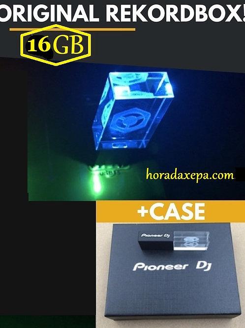Pen Drive 16gb Cristal Diodo Pioneer Dj Usb 2.0 + Estojo