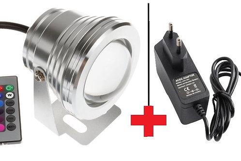 Lâmpada Led 20w Subaquática Rgb Mini Refletor Controle Remoto +1 Fonte 12v