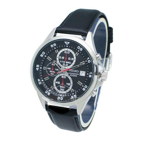 Relógio Esportivo Masculino Seiko Pulseira de Couro Cronógrafo Sks635p1 À Prova