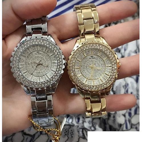 Relógio De Luxo Banhado Ouro / Prata Strass Bee Sister Zdj02