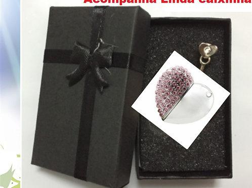 Pen Drive 64gb Estilizado Colar Coração Cristais + Caixa de Presente