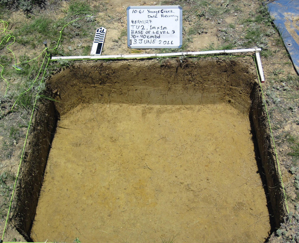Test excavation showing low energy eolian sand strata
