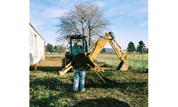 Using Schonstedt to clear dig location after backhoe excavation