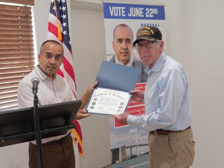 Nabaraj KC Honors a Veteran in Memorial Day.
