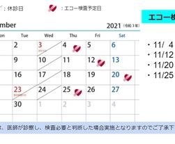 11月エコー検査日のお知らせ