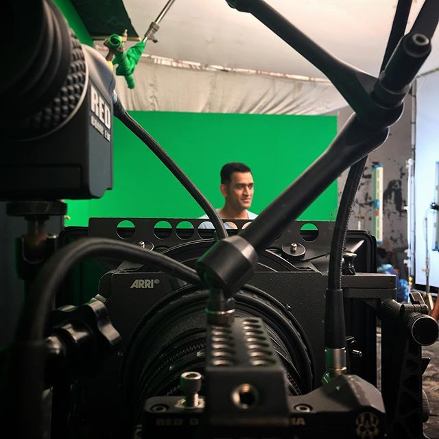 Mahendra Singh Dhoni in front of the Red Weapon camera with the Helium 8K sensor on chroma green screen Director of Photography / Cinematographer Jignesh Jhaveri