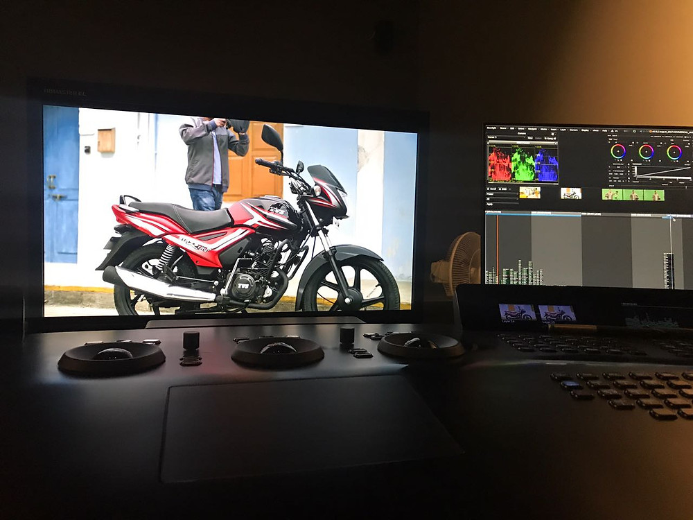 Grading the TVS Starcity+ commercial with Naveen Shetty at Nube - Director of Photography / Cinematographer - Jignesh Jhaveri
