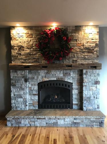 Stone Fireplace & Wood Mantel Install