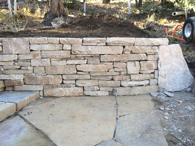 Dry Stack Stone Retaining Wall
