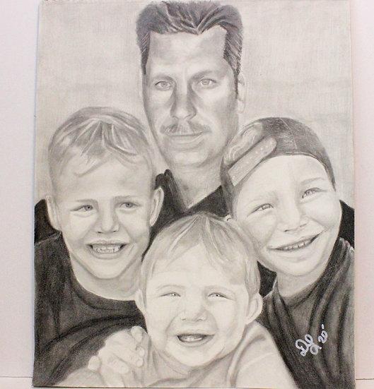 Custom Family Portrait Graphite