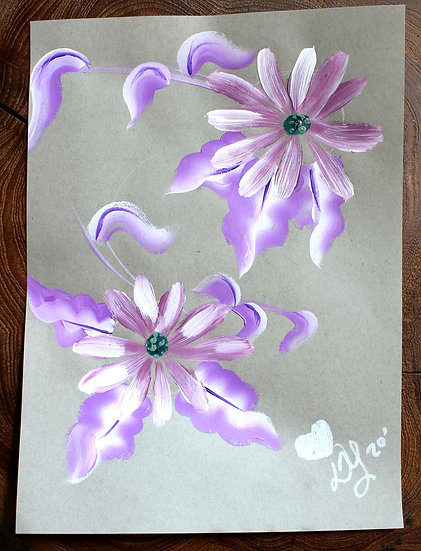 Double Flower Powers Purple Original Painting