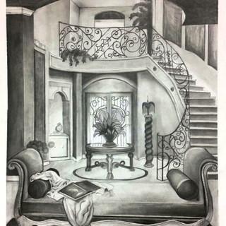 Interior Design Graphite Drawing