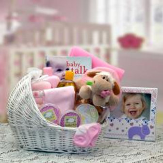 Welcome Baby Bassinet New Baby Basket-Pink!