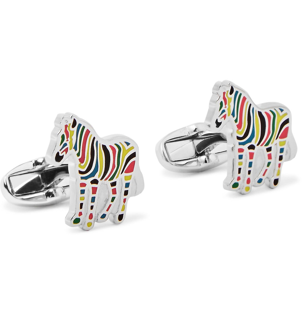 Fun Paul Smith Multi-Coloured Stripe Zebra Cufflinks Hire WatchVIP