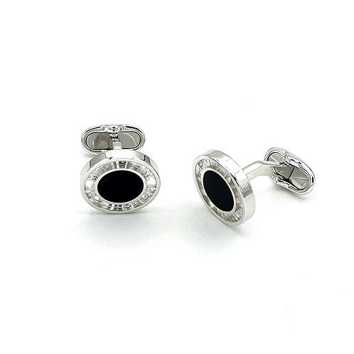 Montblanc Steel & Onyx Cufflinks