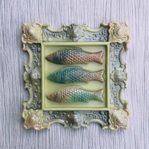 Pistachio & Cardamom Ornate Chocolate Frame with Pistachio Fish