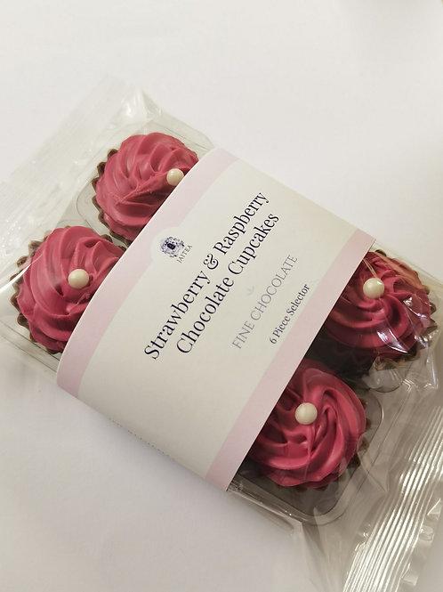 6 x Miniature Cupcake Chocolates with Strawberry & Raspberry Ganache