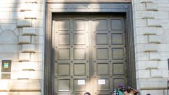 Grand doors to a bank.