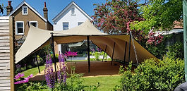 Stretch Tent in garden, Stretch Tent hire