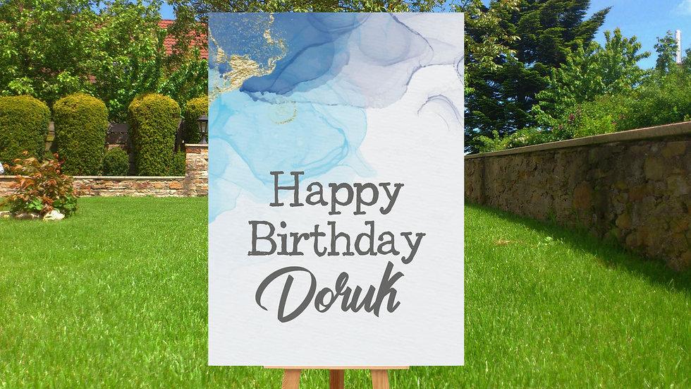 Karşılama Panosu Doğum Günü Mavi Temalı