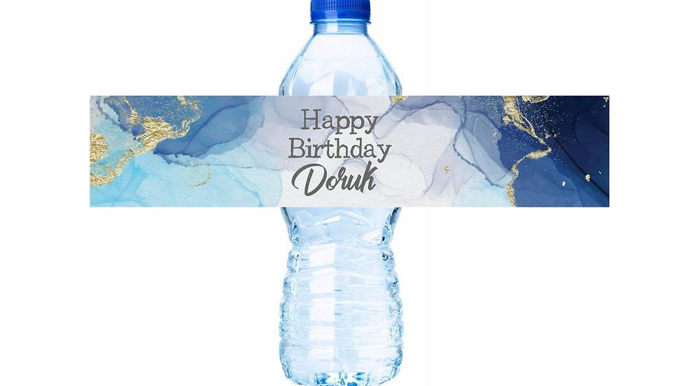Su Şişesi Etiketi Mavi Temalı