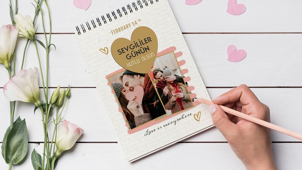 Anı Defteri Model 6 Sevgililer Günü Temalı