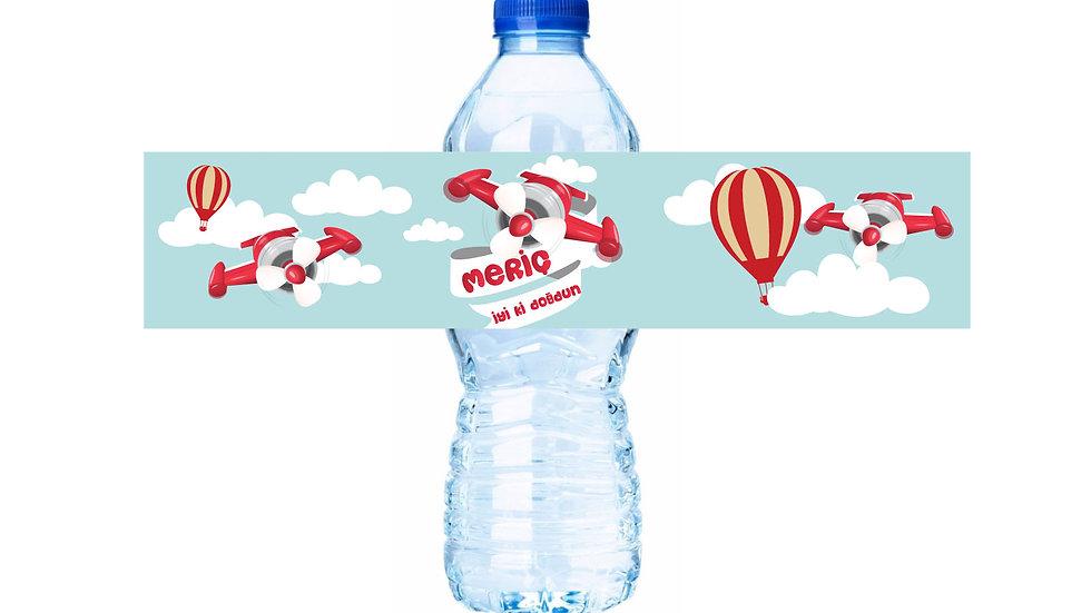 Su Şişesi Etiketi Uçak Temalı