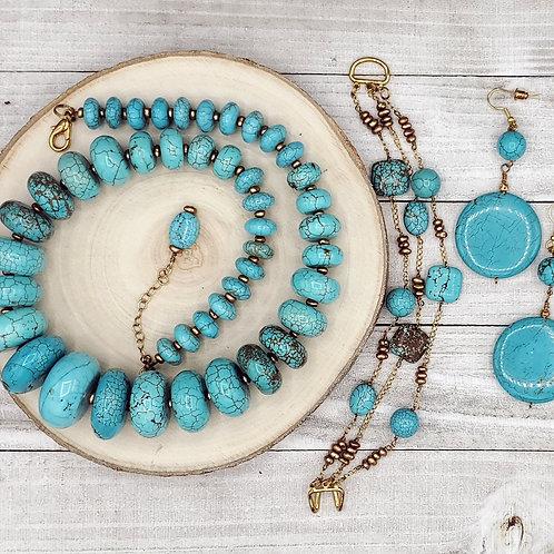 Golden Divinity - Turquoise Gemstone Jewelry Set