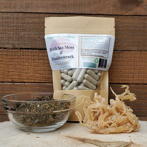 Irish Sea Moss and Bladderwrack | Organic | 100 Capsules | Alkaline