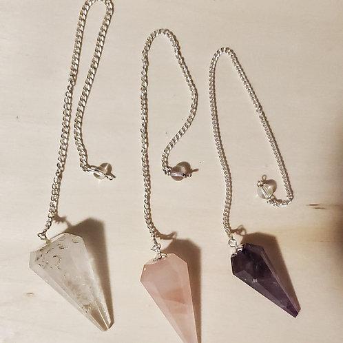 Crystal Pendulums   Clear Quartz   Amethyst   Rose Quartz