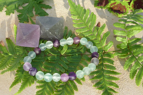Fluorite Natural (Non-Polished) Round Bracelet