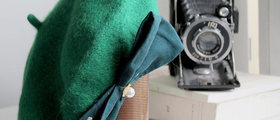 Béret à nœud vert Alice