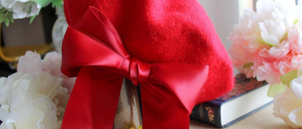 Béret rouge ruban en soie Emilie