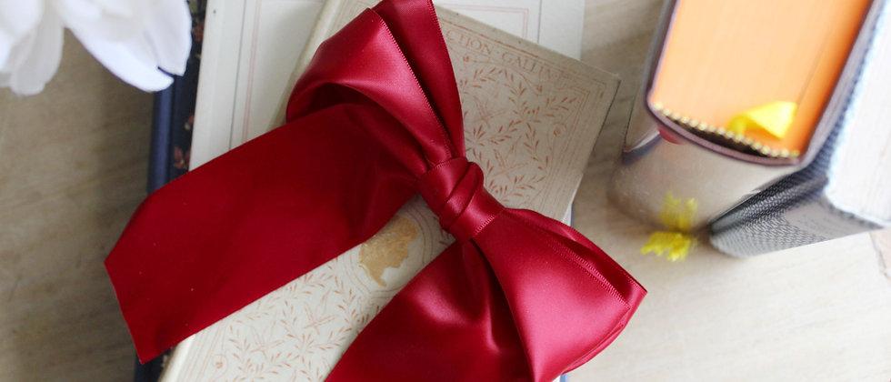 Barrette double-nœud en soie Emilie rouge