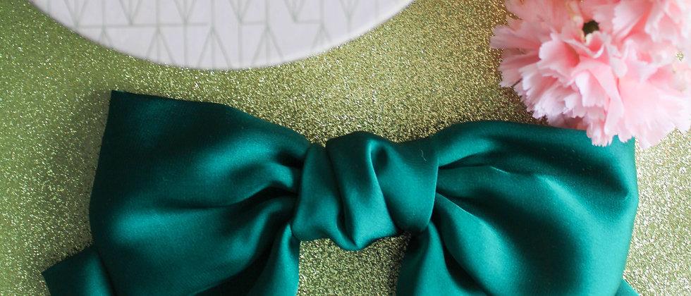 Barrette nœud en soie Manon vert émeraude