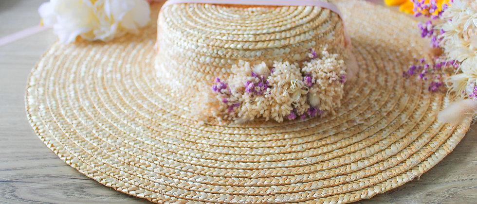 Chapeau provençal et fleurs séchées rose Hilda