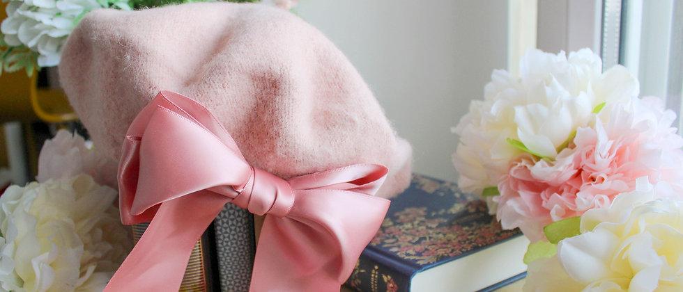 Béret rose ruban en soie Emilie