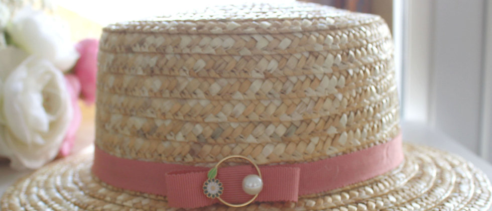 Chapeau de paille Camille rose