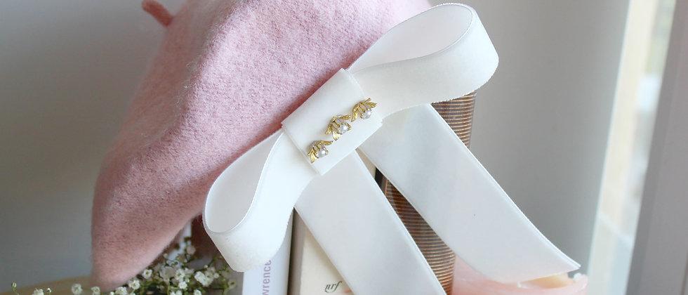 Béret rose nœud en velours blanc Alicia
