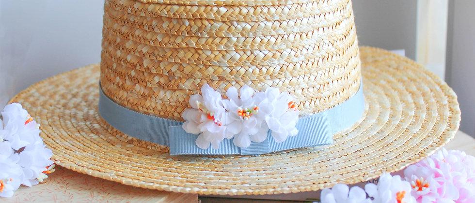 Canotier fleuri Jane bleu
