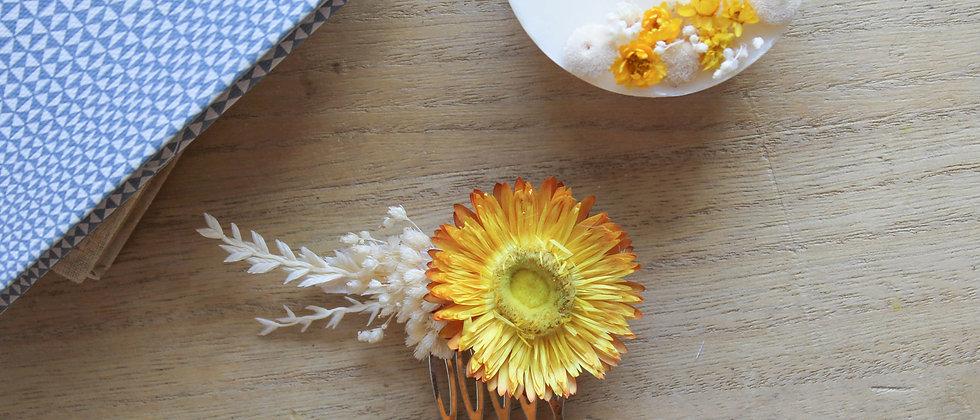 Peigne fleurs séchées ( immortelle jaune)