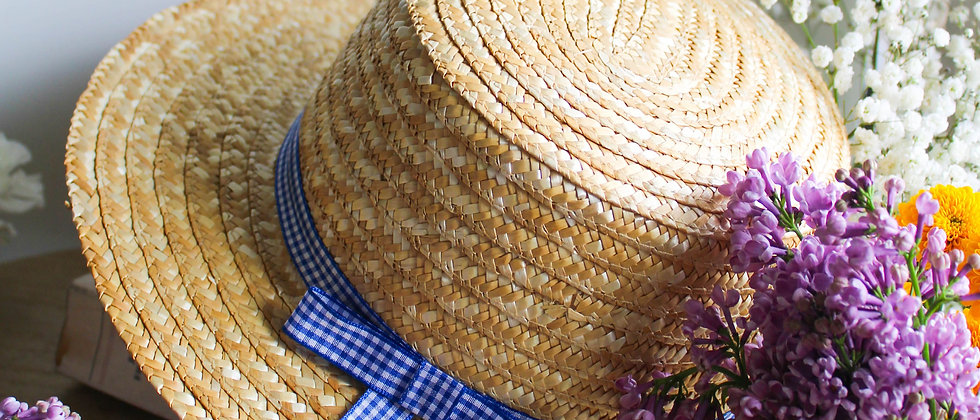 Canotier ruban vichy bleu