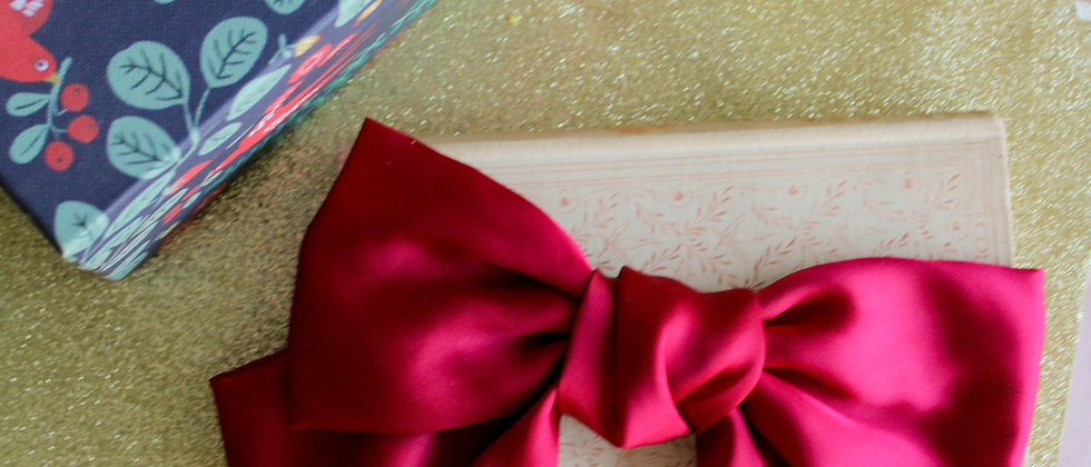 Barrette nœud en soie Manon rouge