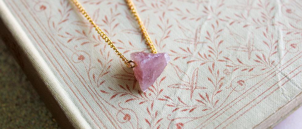 Collier doré quartz rose