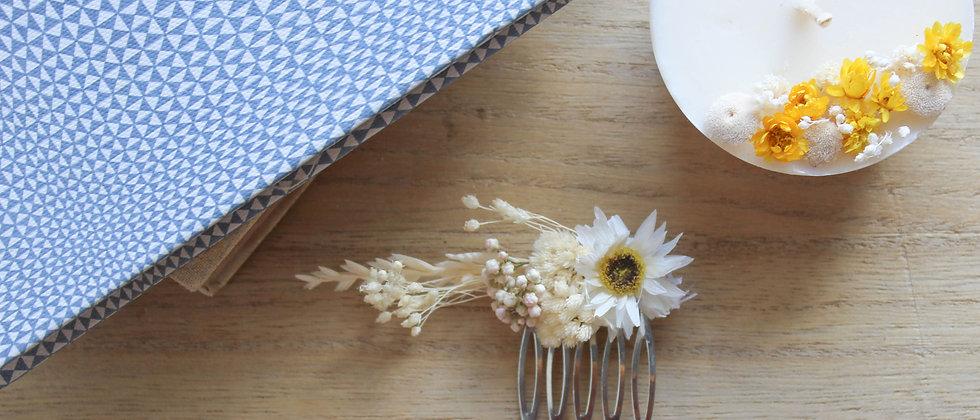 Peigne fleurs séchées (spiga d'or et immortelle)