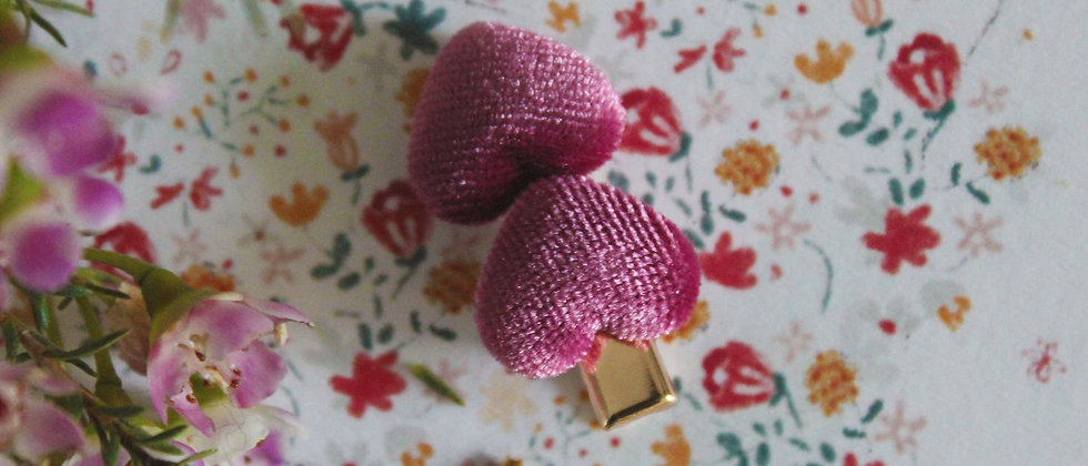 Petite barrette en velours Coeur rose